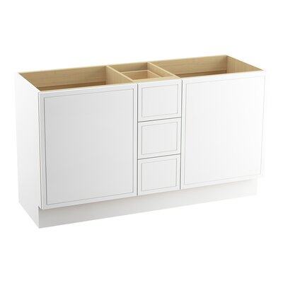 Jacquard 60 Vanity with Toe Kick, 2 Doors and 3 Drawers, Split Top Drawer Finish: Linen White