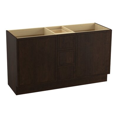 Jacquard� 60 Vanity with Toe Kick, 2 Doors and 3 Drawers, Split Top Drawer Finish: Claret Suede