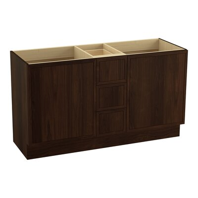 Jacquard 60 Vanity with Toe Kick, 2 Doors and 3 Drawers, Split Top Drawer Finish: Ramie Walnut
