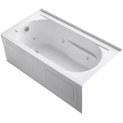 Devonshire Alcove Whirlpool with Integral Apron and Left-Hand Drain Finish: White