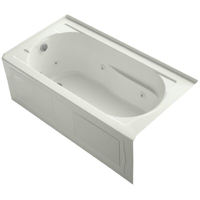 Devonshire Alcove Whirlpool Bath with Integral Apron, Tile Flange, Left-Hand Drain and Bask Heated Surface Finish: Dune