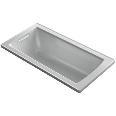 Archer VibrAcoustic Drop-in Bath with Bask� Heated Surface and Reversible Drain Finish: Ice Grey