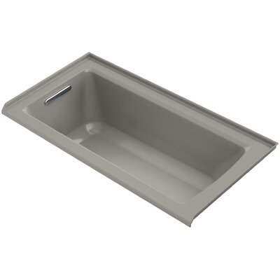 Archer VibrAcoustic Three-Wall Alcove Bath with Bask Heated Surface, Tile Flange and Left-Hand Drain Finish: Cashmere