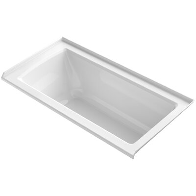 Archer VibrAcoustic� Three-Wall Alcove Bath with Bask� Heated Surface, Tile Flange and Right-Hand Drain Finish: White