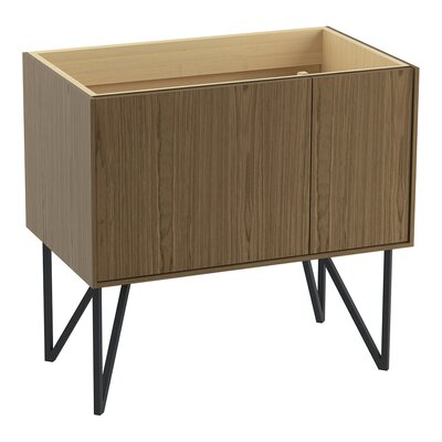 Jute 36 Vanity Base with 1 Door and 1 Drawer on Left Finish: Walnut Flax