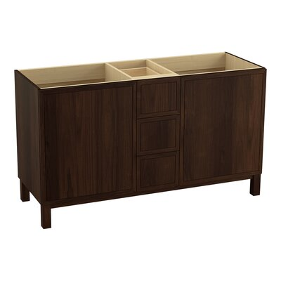 Jacquard� 60 Vanity with Furniture Legs, 2 Doors and 3 Drawers, Split Top Drawer Finish: Ramie Walnut