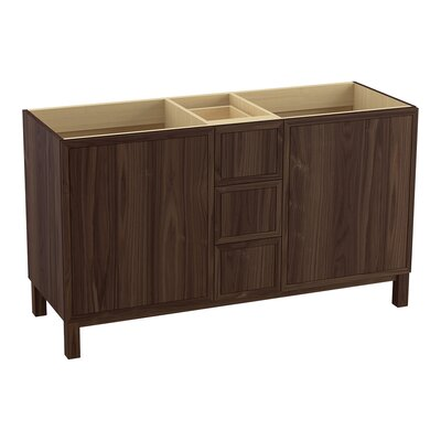 Jacquard� 60 Vanity with Furniture Legs, 2 Doors and 3 Drawers, Split Top Drawer Finish: Terry Walnut