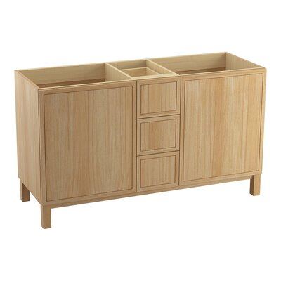 Jacquard� 60 Vanity with Furniture Legs, 2 Doors and 3 Drawers, Split Top Drawer Finish: Khaki White Oak