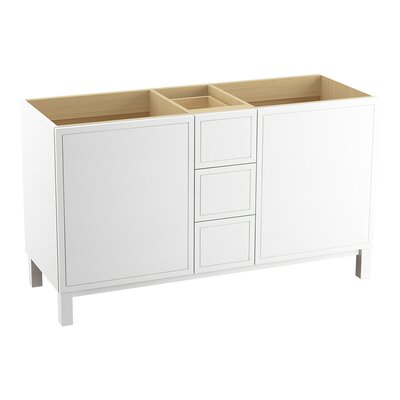 Jacquard� 60 Vanity with Furniture Legs, 2 Doors and 3 Drawers, Split Top Drawer Finish: Linen White