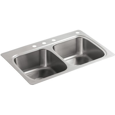 Verse Top-Mount Double-Equal Bowl Kitchen Sink with 4 Faucet Holes
