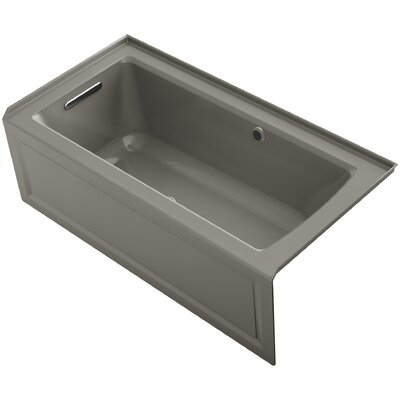 Archer Alcove Bubblemassage Air Bath with Integral Apron, Left-Hand Drain and Bask Heated Surface Finish: Cashmere