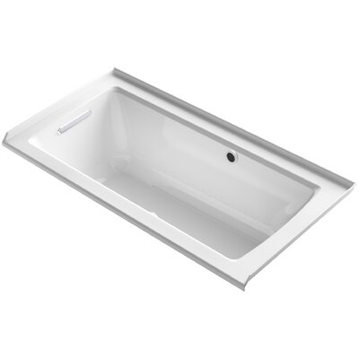 Archer Alcove BubbleMassage� Air Bath with Tile Flange, Left-Hand Drain and Bask� Heated Surface Finish: White