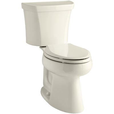 Highline Comfort Height 2-Piece Elongated Dual-Flush Toilet with Class Five Flush Technology and Right-Hand Trip Lever Finish: Almond