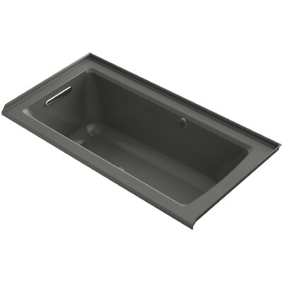 Archer Alcove BubbleMassage� Air Bath with Tile Flange, Left-Hand Drain and Bask� Heated Surface Finish: Thunder Grey