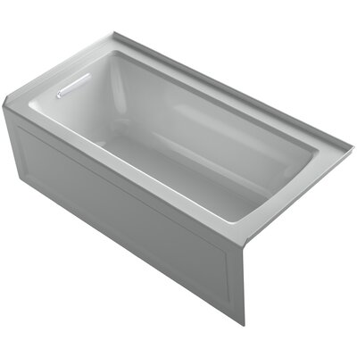 Archer Alcove VibrAcoustic Bath with Integral Apron, Tile Flange and Left-Hand Drain Finish: Ice Grey