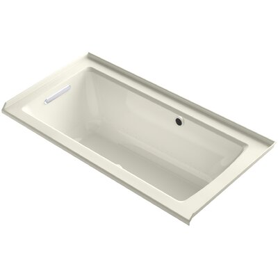 Archer Alcove BubbleMassage Air Bath with Tile Flange, Left-Hand Drain and Bask Heated Surface Finish: Biscuit