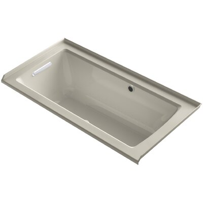 Archer Alcove BubbleMassage� Air Bath with Tile Flange, Left-Hand Drain and Bask� Heated Surface Finish: Sandbar