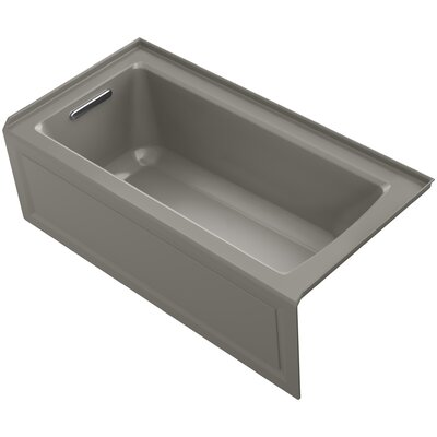 Archer Alcove VibrAcoustic Bath with Integral Apron, Tile Flange and Left-Hand Drain Finish: Cashmere