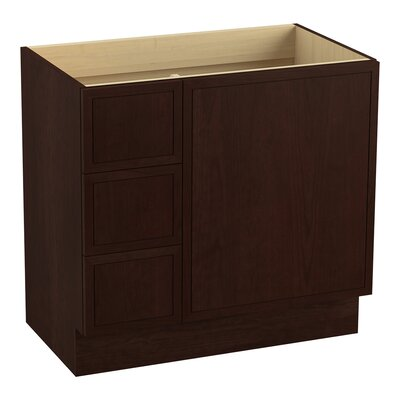 Jacquard 36 Vanity with Toe Kick, 1 Door and 3 Drawers on Left Finish: Cherry Tweed