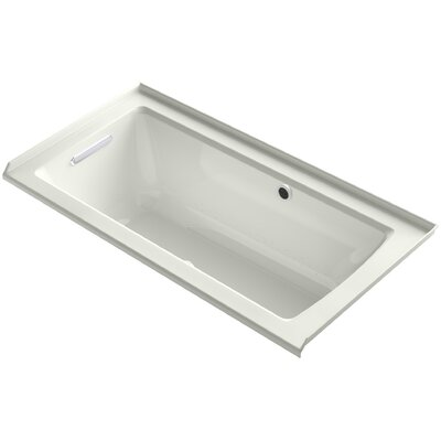 Archer Alcove BubbleMassage Air Bath with Tile Flange, Left-Hand Drain and Bask Heated Surface Finish: Dune