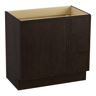 Jacquard� 36 Vanity with Toe Kick, 1 Door and 3 Drawers on Right Finish: Claret Suede
