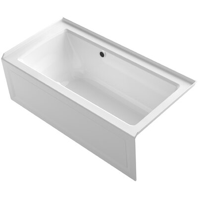 Archer Alcove BubbleMassage� Air Bath with Integral Apron, Right-Hand Drain and Bask Heated Surface Finish: White