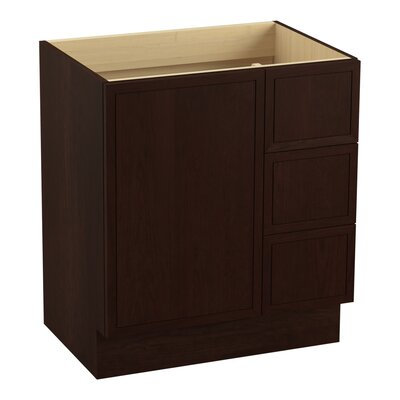 Jacquard 30 Vanity with Toe Kick, 1 Door and 3 Drawers on Right Finish: Cherry Tweed