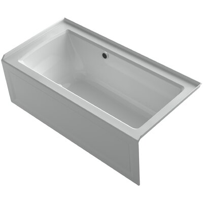 Archer Alcove BubbleMassage Air Bath with Integral Apron, Right-Hand Drain and Bask Heated Surface Finish: Ice Grey