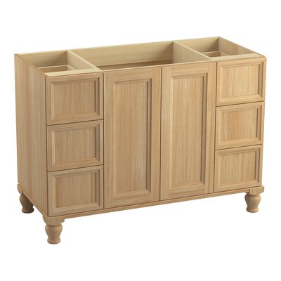 Damask Works 48 Vanity with Furniture Legs, 2 Doors and 6 Drawers Finish: Khaki White Oak
