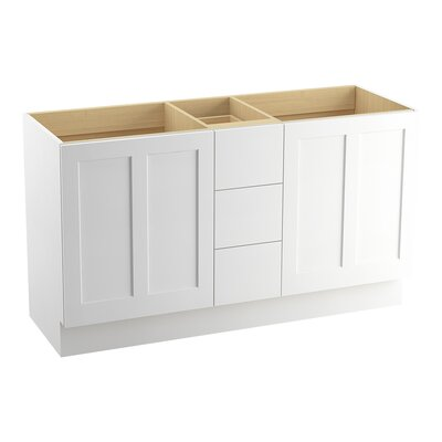 Poplin� 60 Vanity with Toe Kick, 2 Doors and 3 Drawers, Split Top Drawer Finish: Linen White