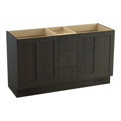 Poplin 60 Vanity with Toe Kick, 2 Doors and 3 Drawers, Split Top Drawer Finish: Felt Grey