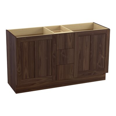 Poplin 60 Vanity with Toe Kick, 2 Doors and 3 Drawers, Split Top Drawer Finish: Terry Walnut