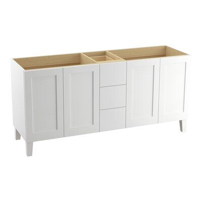 Poplin 72 Vanity with Furniture Legs, 4 Doors and 3 Drawers, Split Top Drawer Finish: Linen White