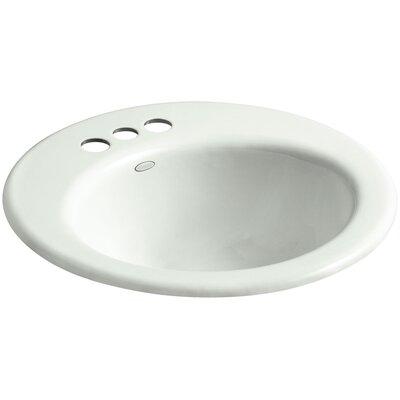 Radiant Metal Circular Drop-In Bathroom Sink with Overflow Finish: Sea Salt