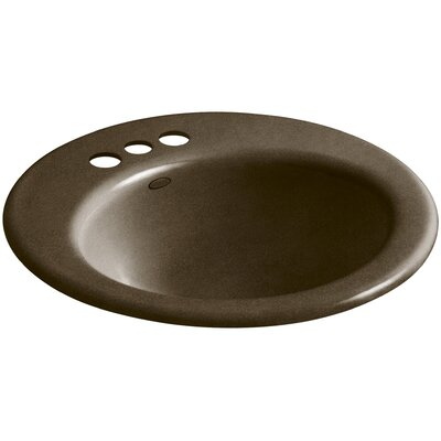 Radiant Metal Circular Drop-In Bathroom Sink with Overflow Finish: Black n Tan