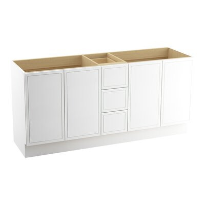 Jacquard 72 Vanity with Toe Kick, 4 Doors and 3 Drawers, Split Top Drawer Finish: Linen White