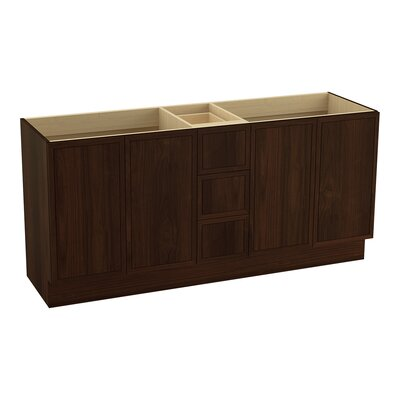 Jacquard 72 Vanity with Toe Kick, 4 Doors and 3 Drawers, Split Top Drawer Finish: Ramie Walnut