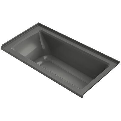 Archer VibrAcoustic Three-Wall Alcove Bath with Bask Heated Surface, Tile Flange and Right-Hand Drain Finish: Thunder Grey