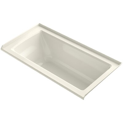 Archer VibrAcoustic Three-Wall Alcove Bath with Bask Heated Surface, Tile Flange and Right-Hand Drain Finish: Biscuit