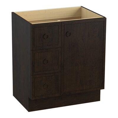 "Jacquard 30"" Vanity Base with Toe Kick, 1 Door and 3 Drawers on Left Finish: Claret Suede"