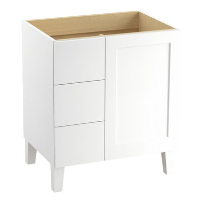 Poplin 30 Vanity with Furniture Legs, 1 Door and 3 Drawers on Left Finish: Linen White