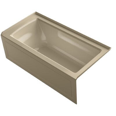 Archer VibrAcoustic Integral Apron Bath with Bask� Heated Surface, Tile Flange, and Left-Hand Drain Finish: Mexican Sand