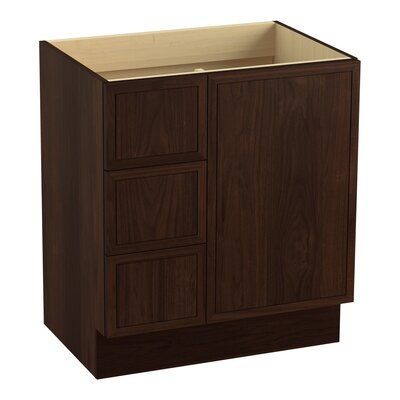 Jacquard 30 Vanity with Toe Kick, 1 Door and 3 Drawers on Left Finish: Ramie Walnut