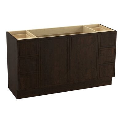 "Jacquard 60"" Vanity with Toe Kick, 2 Doors and 6 Drawers, Split Top Drawers Finish: Claret Suede"
