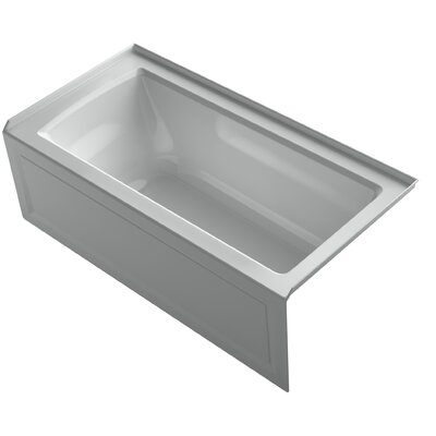 Archer VibrAcoustic Integral Apron Bath with Bask� Heated Surface, Tile Flange, and Left-Hand Drain Finish: Ice Grey