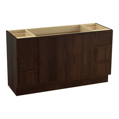 Jacquard� 60 Vanity with Toe Kick, 2 Doors and 6 Drawers, Split Top Drawers Finish: Ramie Walnut