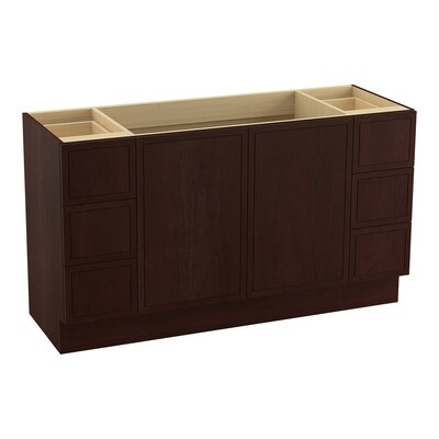 "Jacquard 60"" Vanity with Toe Kick, 2 Doors and 6 Drawers, Split Top Drawers Finish: Cherry Tweed"