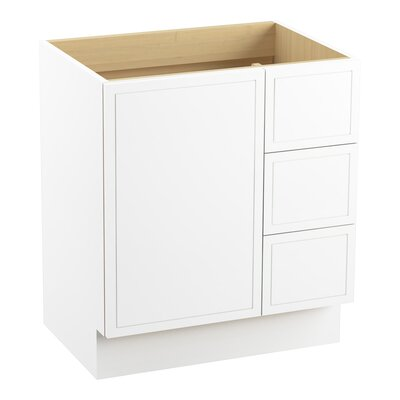 Jacquard� 30 Vanity with Toe Kick, 1 Door and 3 Drawers on Right Finish: Linen White