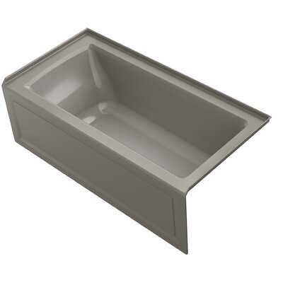 Archer Alcove VibrAcoustic Bath with Integral Apron, Tile Flange and Right-Hand Drain Finish: Cashmere