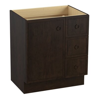 Jacquard� 30 Vanity with Toe Kick, 1 Door and 3 Drawers on Right Finish: Claret Suede